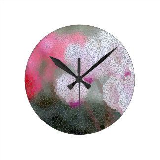 Cyclamen Flowers Mosaic Round Clock