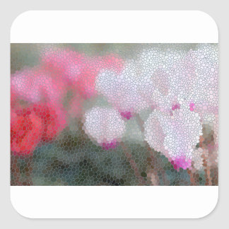 Cyclamen Flowers Mosaic Square Sticker
