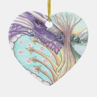 Cycle of Life Dragon Drawing Ceramic Ornament