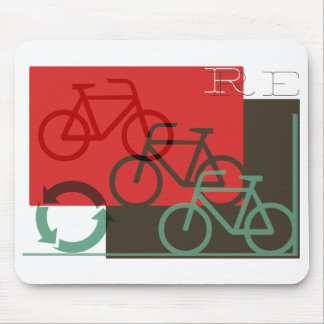 cycle recycle retro graphic mouse pad