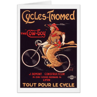"""Cycles Tnomed """"The Cowboy"""" Vintage French Bike Ad Card"""