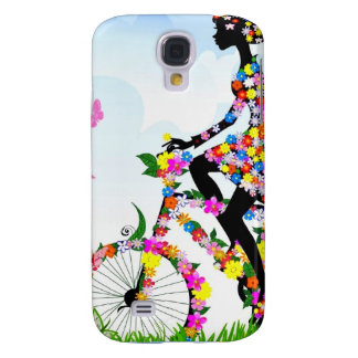Cycling amongst Flowers Samsung Galaxy S4 Cases