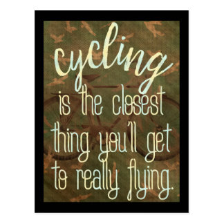 cycling and flying postcard