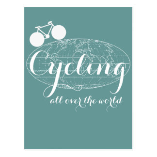 cycling biking cycle bike pedaling postcard