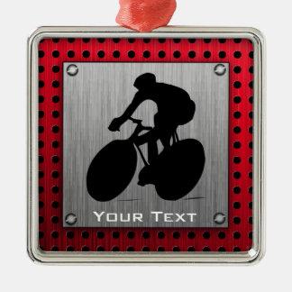Cycling; Brushed metal look Metal Ornament