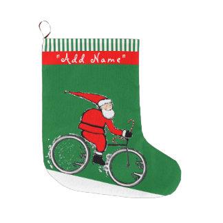 Cycling Christmas Large Christmas Stocking