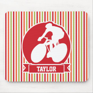 Cycling, Cyclist; Red, Orange Green Stripes Mouse Pads