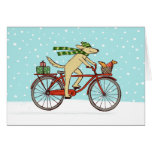 Cycling Dog and Squirrel Friends Happy Holiday Note Card