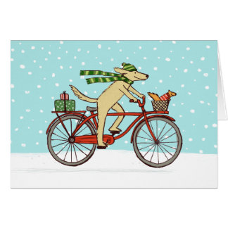 Cycling Dog and Squirrel Friends Happy Holiday Card