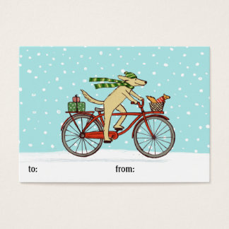 Cycling Dog and Squirrel Whimsical Winter Holiday Business Card