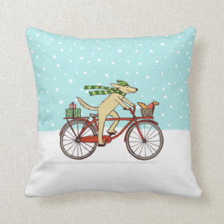 Cycling Dog and Squirrel Whimsical Winter Holiday Throw Pillow