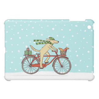Cycling Dog and Squirrel Winter Holiday iPad Mini Covers