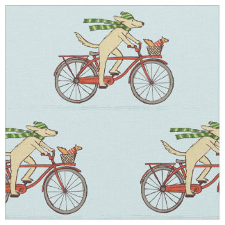 Cycling Dog with Scarf and Squirrel with Sweater Fabric