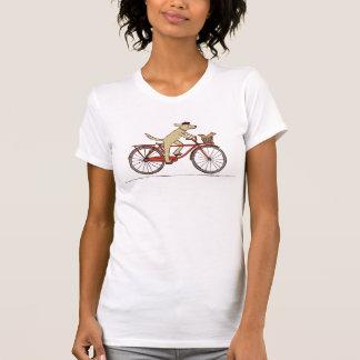 Cycling Dog with Squirrel - Fun Animal Art Tshirt