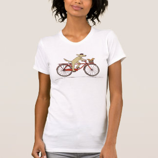 Cycling Dog with Squirrel - Fun Animal Art Tshirt