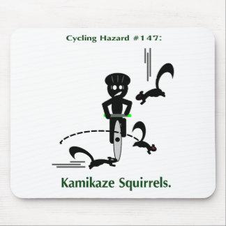Cycling hazard: kamikaze squirrels mouse pad