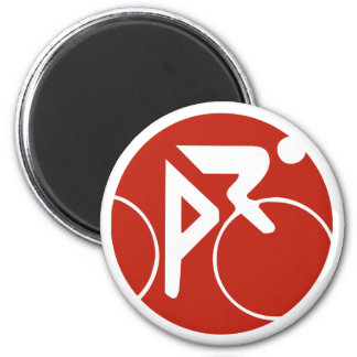 Cycling icon, red and white 6 cm round magnet
