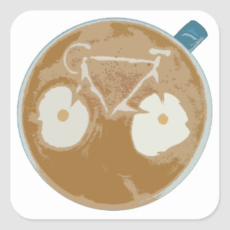 Cycling Latte Art Square Sticker