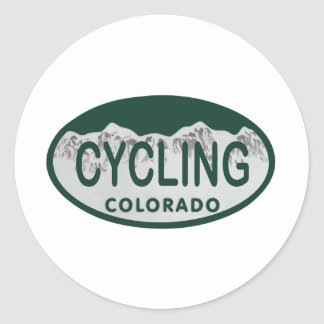 cycling license oval classic round sticker