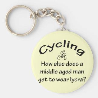 Cycling Man Basic Round Button Key Ring