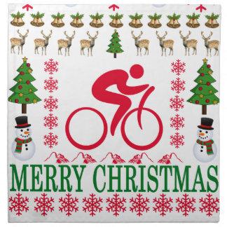 CYCLING MERRY CHRISTMAS . NAPKIN
