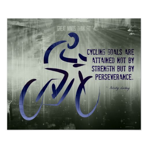 cycling poster with perseverance quote zazzle