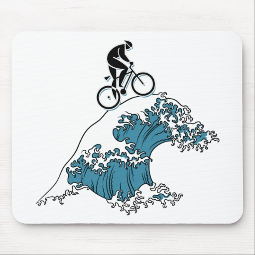 Cycling Riding The Wave Mousepads