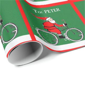 Cycling Santa Wrapping Paper