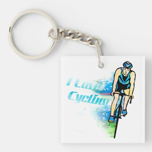 Cycling Square (single-sided) Keychain