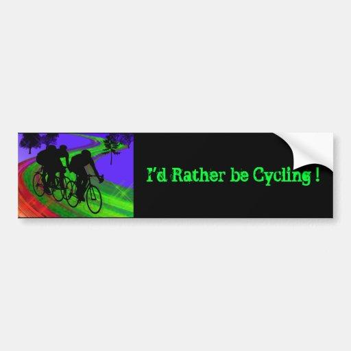 Cycling Trio on Ribbon Road Bumper Sticker