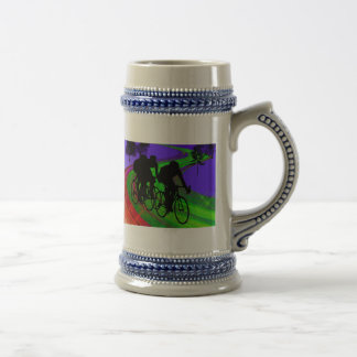 Cycling Trio on Ribbon Road 18 Oz Beer Stein