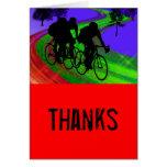 Cycling Trio on Ribbon Road Thanks Greeting Card
