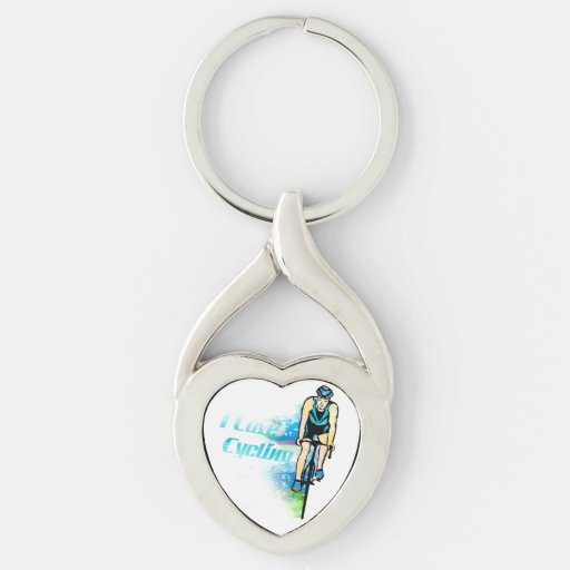 Cycling Twisted Heart Metal Keychain Keyrings