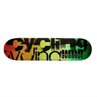Cycling; Vibrant Green, Orange, & Yellow Skate Boards