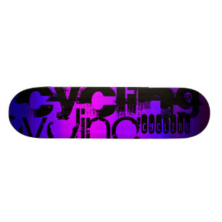 Cycling; Vibrant Violet Blue and Magenta Skate Board Deck