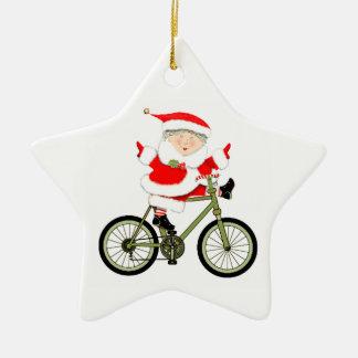 Cyclist Christmas Ceramic Ornament