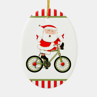Cyclist Christmas Collectible Ceramic Ornament