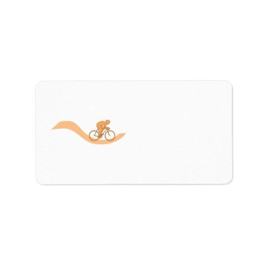 Cyclist Design in Orange. Address Label