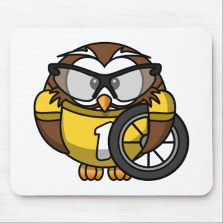 Cyclist Owl Toon Drawing Mousepads