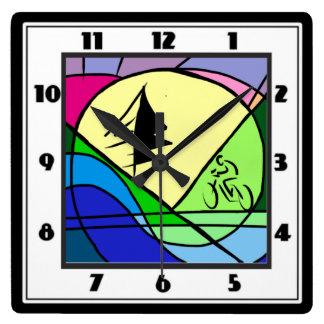 Cyclist Riding Hills Original Abstract Clock