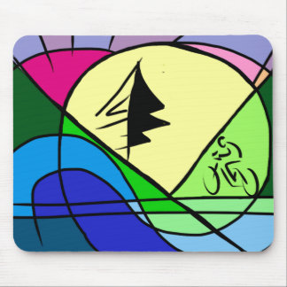Cyclist Riding Hills Original Abstract Mouse Pad
