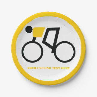 Cyclist riding his bicycle icon yellow custom paper plate