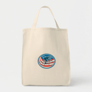 Cyclist Riding Mountain Bike American Flag Oval Tote Bags