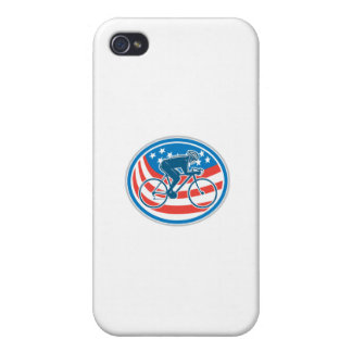 Cyclist Riding Mountain Bike American Flag Oval iPhone 4/4S Cover