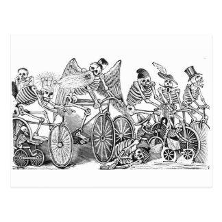 Cyclists Calavera postcard