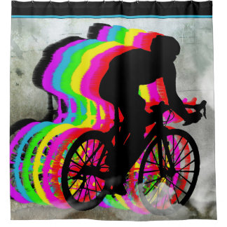 Cyclists Cycling in the Clouds Shower Curtain