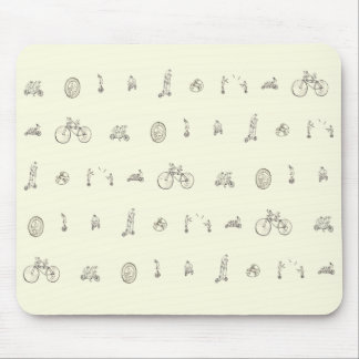 Cyclists on Quirky Bikes Funny Line Drawing Design Mouse Pad