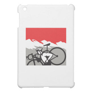 Cyclocross Athlete Running Carrying Bike Alps Retr iPad Mini Cases