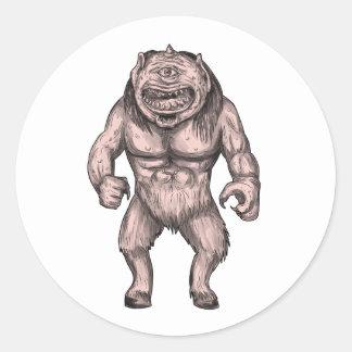 Cyclops Standing Tattoo Classic Round Sticker