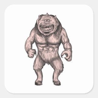 Cyclops Standing Tattoo Square Sticker